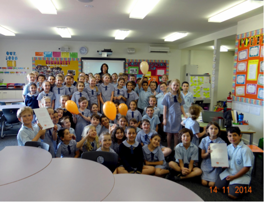 Year 3 students St Vincent's de Paul Primary, celebrating their wonderful donation to KOALA Kids for the second consecutive year.