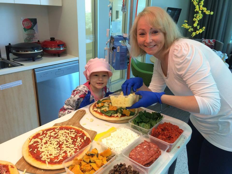 Gracie and her Mum Nicky making themselves a pizza!